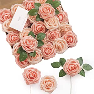 Ling's moment Artificial Flowers Shimmer Blush & Peach Roses 25pcs Real Looking Fake Roses w/Stem for DIY Wedding Bouquets Centerpieces Arrangements Party Baby Shower Home Decorations