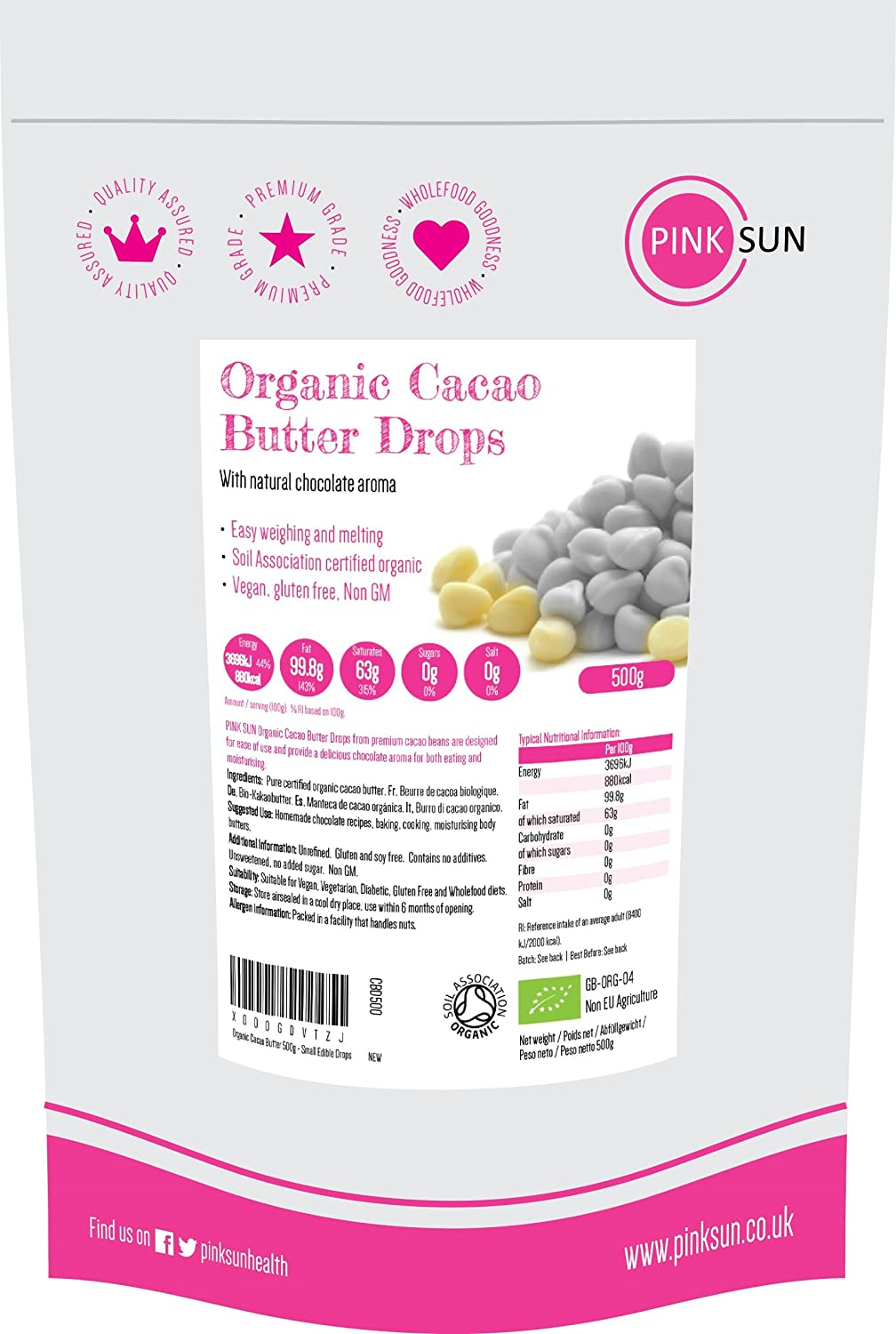Organic Cacao Butter Drops 1kg (also available in 500g) - Small Edible Pure Unrefined Cocoa Butter Chips Wafers - Sugar Free, Gluten Free, Dairy Free, Soy Free, Food Grade Buttons, Suitable for Vegan and Vegetarians Bulk Buy 1000g PINK SUN PINK SUN Ltd