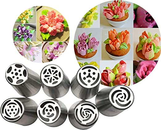 2Pcs DIY Russian Pastry Flower Icing Piping Nozzles Cake Decoration Baking Tools