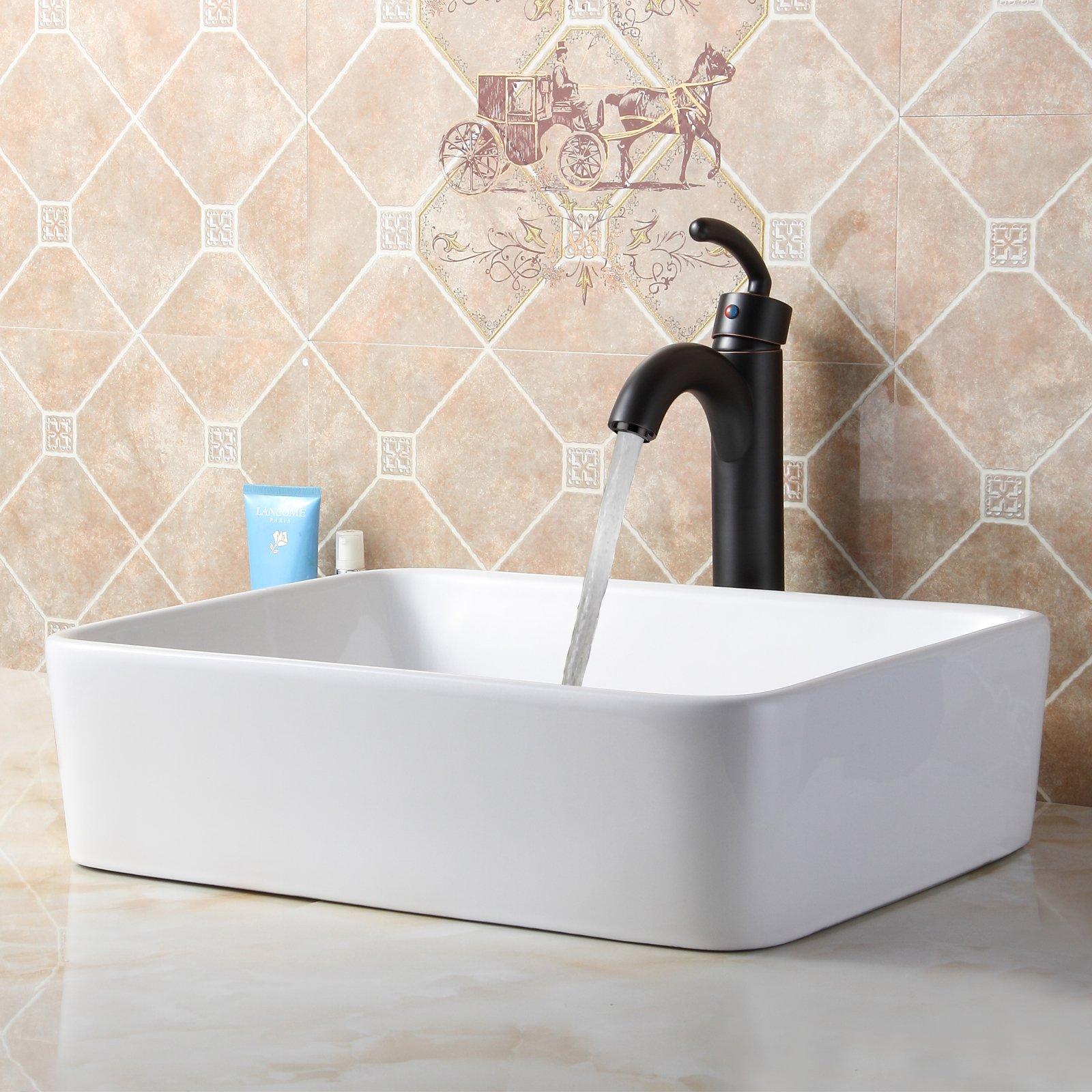 ELITE Bathroom Rectangle White Ceramic Porcelain Vessel Sink & Oil Rubbed Bronze Faucet