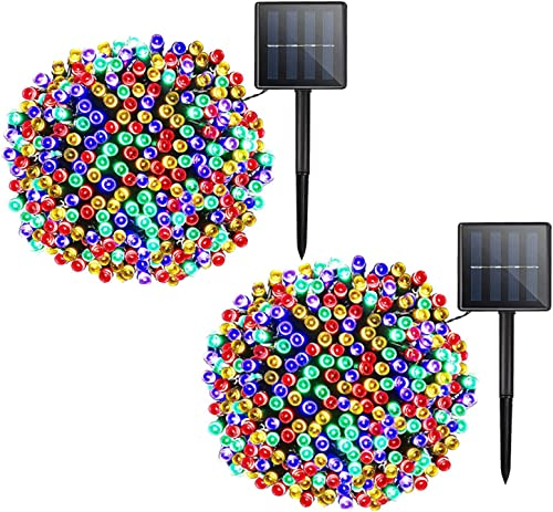Solar Christmas String Lights Outdoor – 2 Pack 72ft 200 LED 8 Modes Outdoor String Lights, Waterproof Fairy Lights for Garden, Patio, Fence, Holiday, Party, Balcony, Christmas Decorations Multicolor