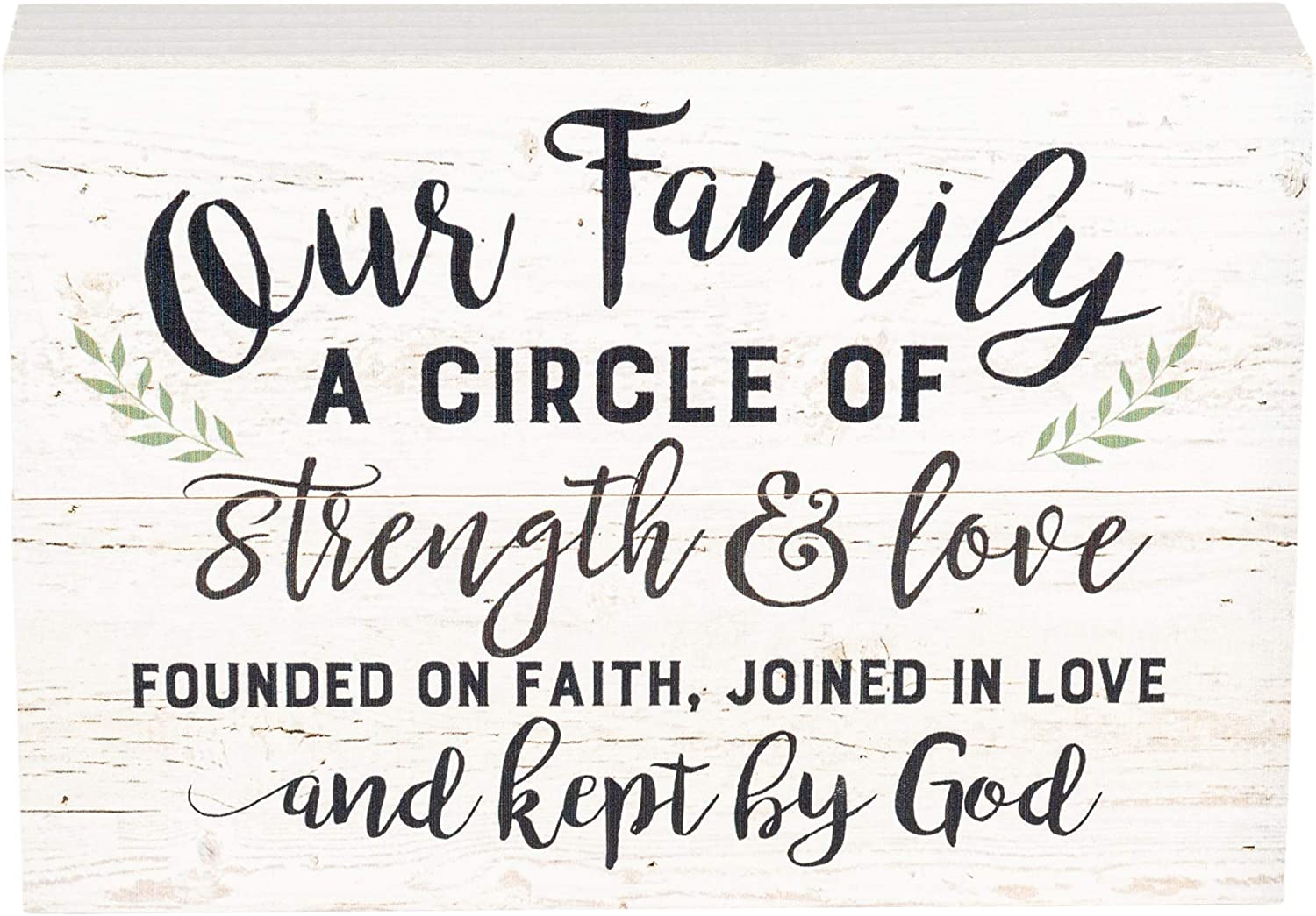 P. Graham Dunn Our Family Strength Love Faith White Wash 10 x 7 Inch Solid Pine Wood Boxed Pallet Wall Plaque Sign