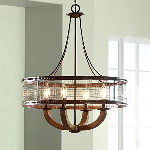 Frankton Bronze Pendant Chandelier 22 Wide Rustic Farmhouse Mesh Drum Hardwood Arm 4-Light Fixture for Dining Room House Foyer Kitchen Island Entryway Bedroom Living Room – Franklin Iron Works