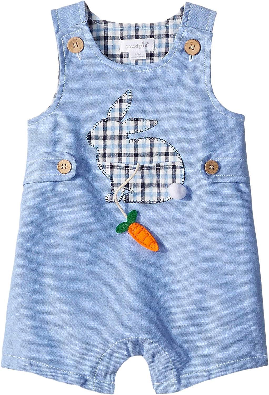 Mud Pie Kids Easter Bunny Applique Blue Oxford Boys Shortall 1 Pc Set