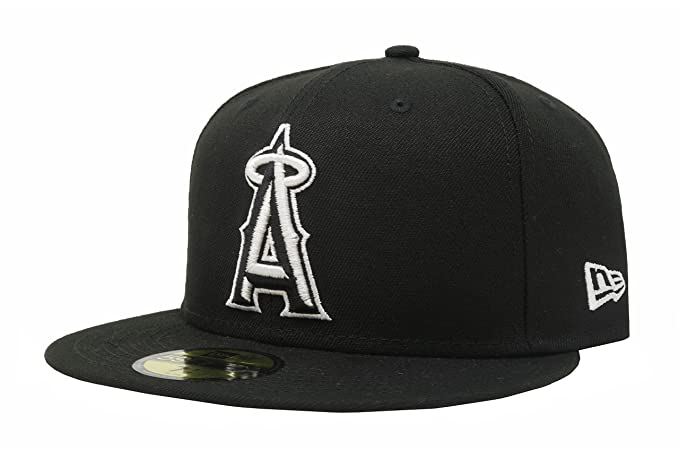 brand new f51ba b7810 ... official store new era anaheim angels black mlb 59fifty fitted cap 8 1  8 fa125 c1390