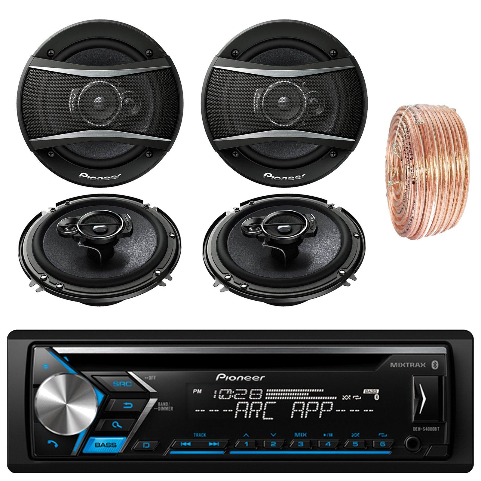 Pioneer DEH-S4000BT Car Bluetooth Radio USB AUX CD Player Receiver - Bundle With 2x TSA1676R 6.5'' 3-Way Speakers - 2 x TS-A6966R 6''x9'' 3-way Speakers + Enrock 50Ft 18 Gauge Speaker Wire