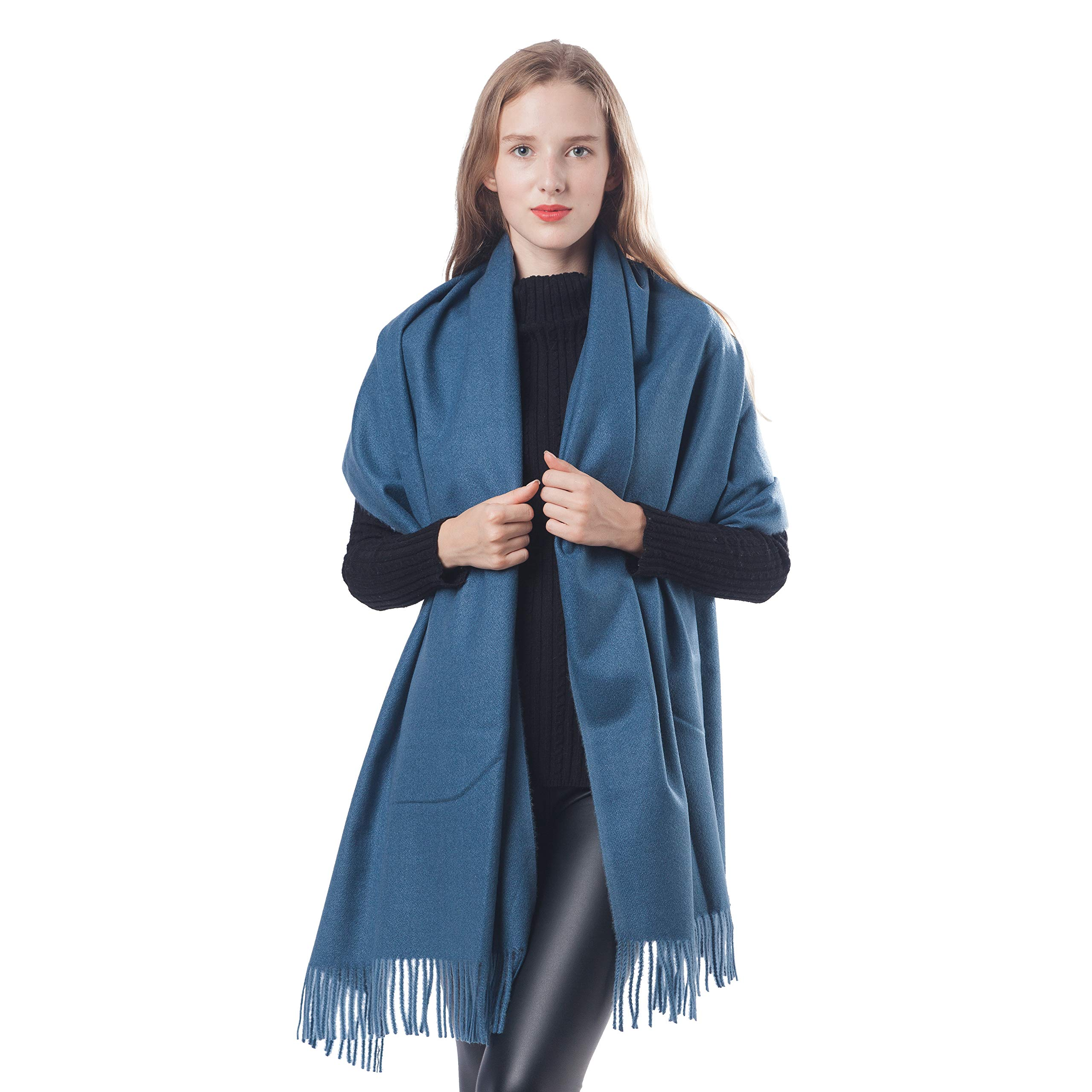 Blue Winter Pashminas Cashmere Scarfs Shawls and Wraps Wool Stole Warm Scarves for Women Lady (1-Denim Blue) by A Sund