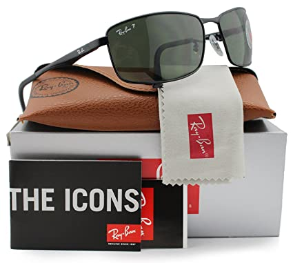 eb2181d11c8 Image Unavailable. Image not available for. Color  Ray-Ban RB3498 Polarized  Sunglasses Shiny Black w Crystal Green (002 9A