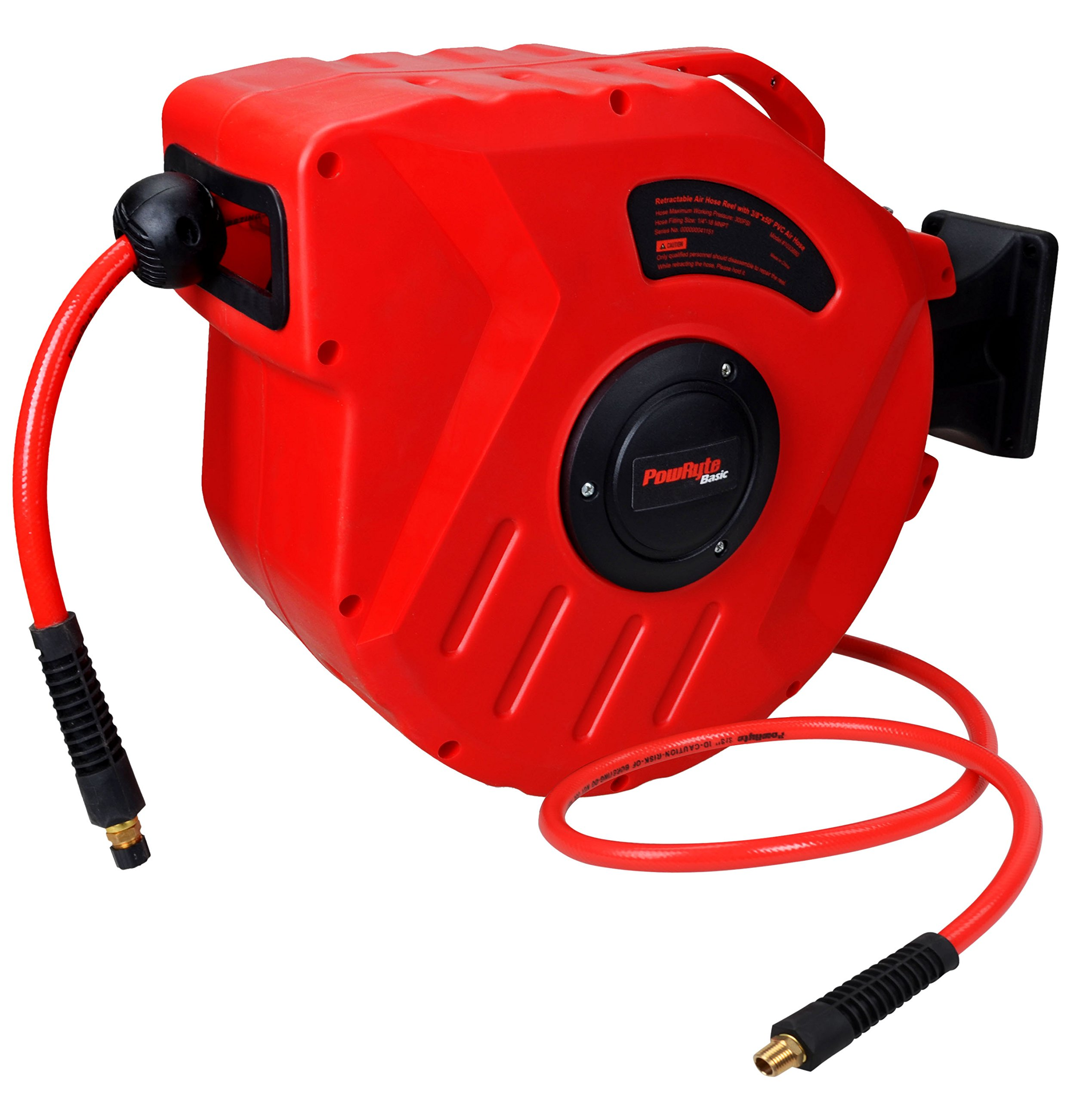PowRyte Retractable Air Hose Reel with 3/8-Inch by 50-Feet PVC Hose