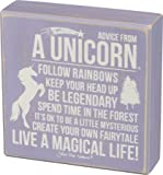 Advice from a Unicorn - Primitives by Kathy 6 in x 6 in Purple Wooden Box Sign