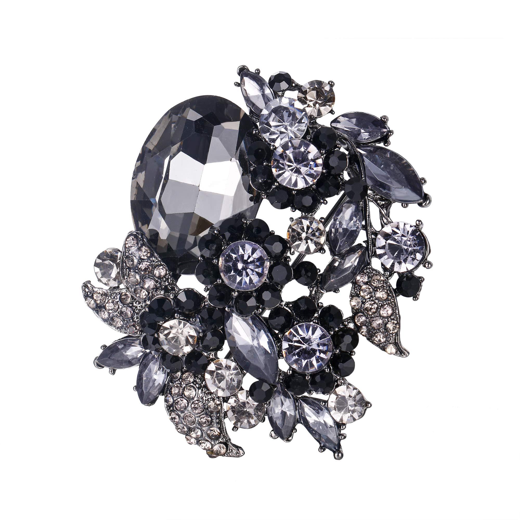 EVER FAITH Women's Rhinestone Crystal Party Flower Leaf Vine Brooch Black Black-Tone
