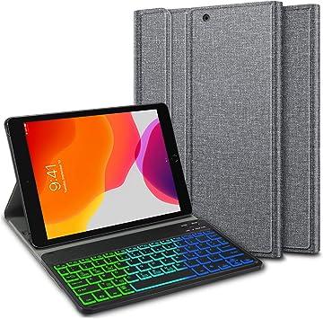 ELTD Teclado Estuche para iPad 10.2 Pulgadas 2019(7ª Generación),[QWERTY Ingles,Sin ñ], Protectora Cover Funda con Desmontable Wireless Teclado para iPad 10.2 Pulgadas dispositivoa, (MMB): Amazon.es: Electrónica