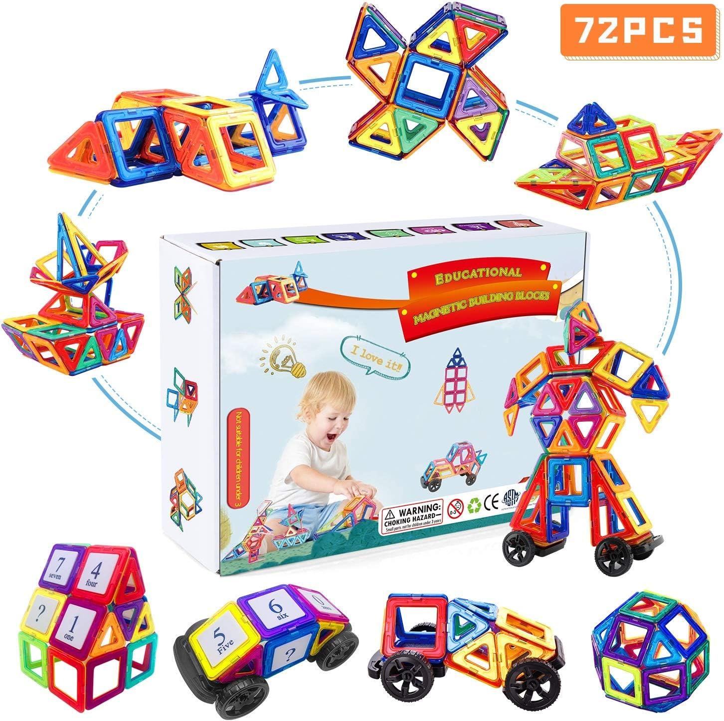 Fansteck Bloques Magneticos, 72 Piezas Juegos de Construcción, Juguetes Construcciones Magneticas 2D 3D,Imanes niños, Construccion Building Set, Regalo Educativo Creativo de Cumpleaños de niños 3 años
