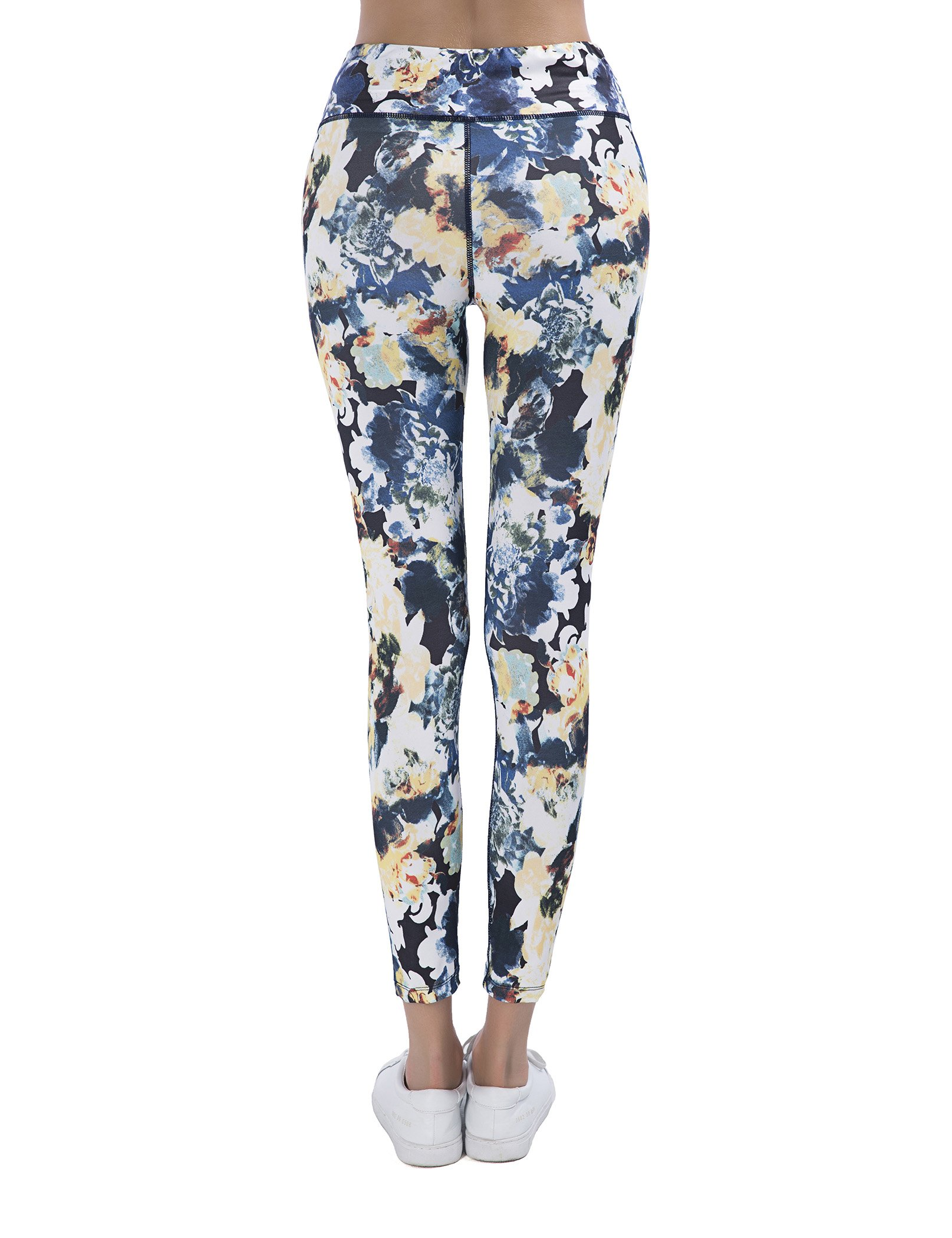 SPECIAL MAGIC Women\'s High Waisted Floral Print Long Legging Navy Blue L