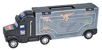 Prextex 16 tracteur remorque Dinosaure transporteur avec 6 Mini Plastique Dinosaurs