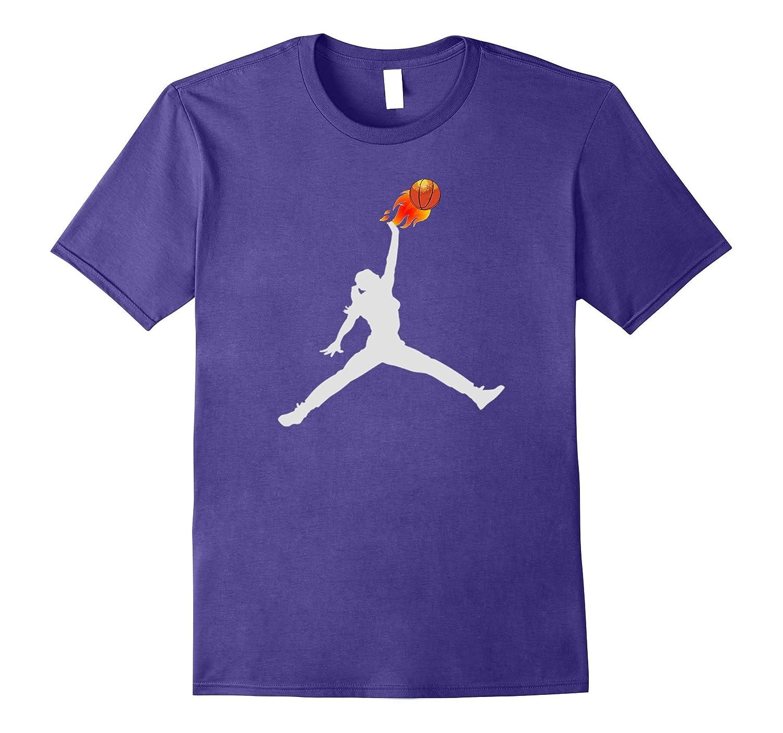 Women's, Girl's Basketball Ball on Fire Tee-Shirt-ANZ