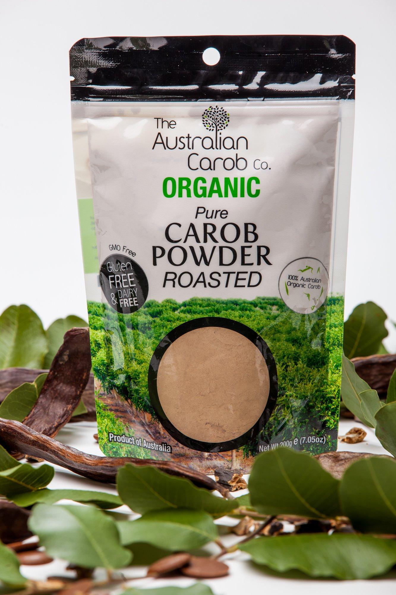 ORGANIC AUSTRALIAN CAROB CO. PREMIUM ROASTED CAROB POWDER, RE-SEALABLE BAG, SUPERFOOD, PALEO, NON-GMO, WORLD'S #1 BEST TASTING, VEGAN, ORGANIC CAROB POWDER, CAROB, CAROB BAR, 7.05oz.