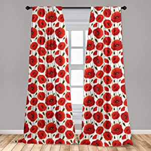 Ambesonne Poppy Curtains, Spring Flowers with Ladybugs Animals and Plants Flora and Fauna Nature, Window Treatments 2 Panel Set for Living Room Bedroom Decor, 56