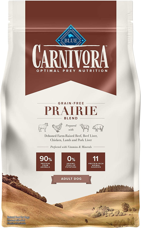 Blue Buffalo Carnivora Optimal Prey Nutrition High Protein, Grain Free Natural Adult Dry Dog Food, Prairie Blend 4lb