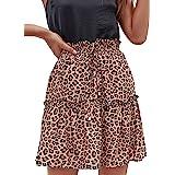 Relipop Women's Floral Flared Short Skirt Polka Dot Pleated Mini Skater Skirt with Drawstring