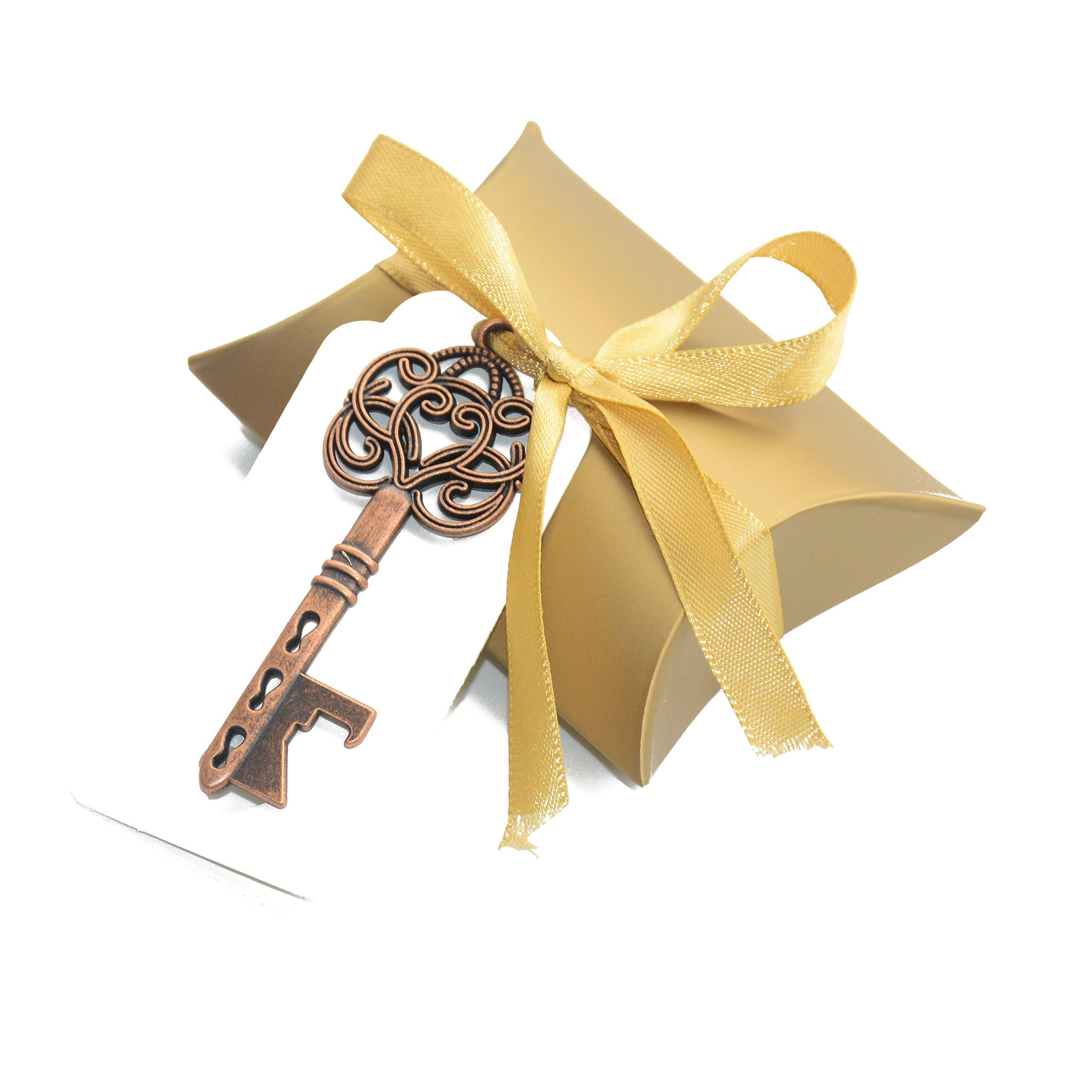 Aokbean 50pcs Vintage Skeleton Key Bottle Openers Wedding Favor Souvenir Gift Set Pillow Candy Box Escort Thank You Tag French Ribbon (Antique Copper)