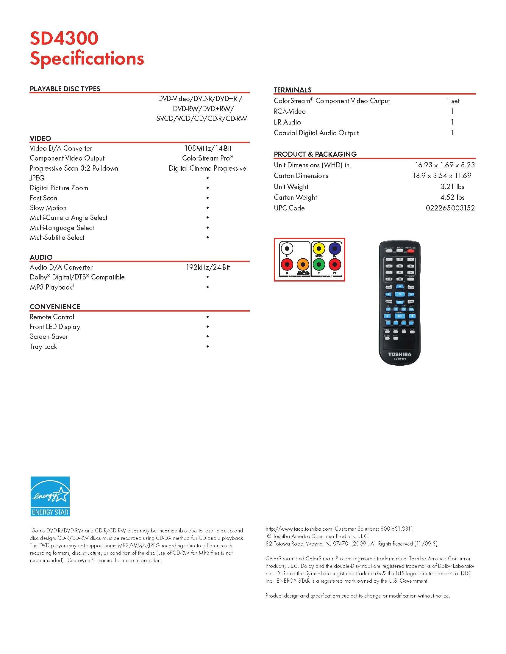 Toshiba SD4300 Progresive Scan DVD Player (Black)