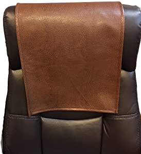 LUVFABRICS Furniture Protector, Recliner, Head Rest, Sofa, Love seat, Leather Protector, Computer Chair, Couch, Faux Leather Vinyl, Suede Backing (Peanut, 18 X 20 (Set of 2))