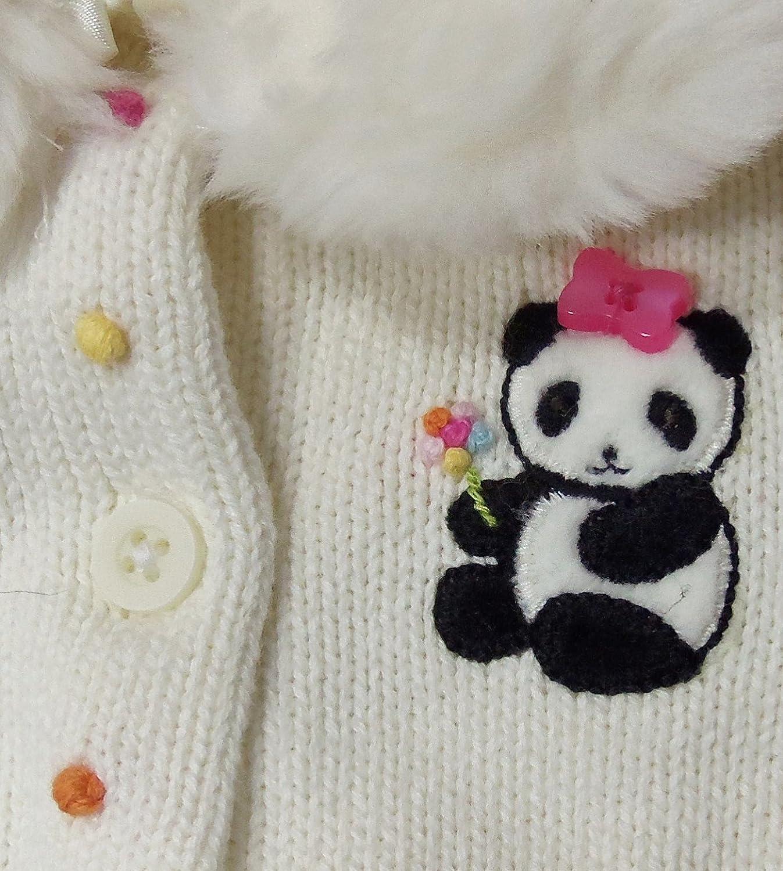 Gymboree Infant Baby Girl Panda Bear White Sweater Detachable Collar Flowers