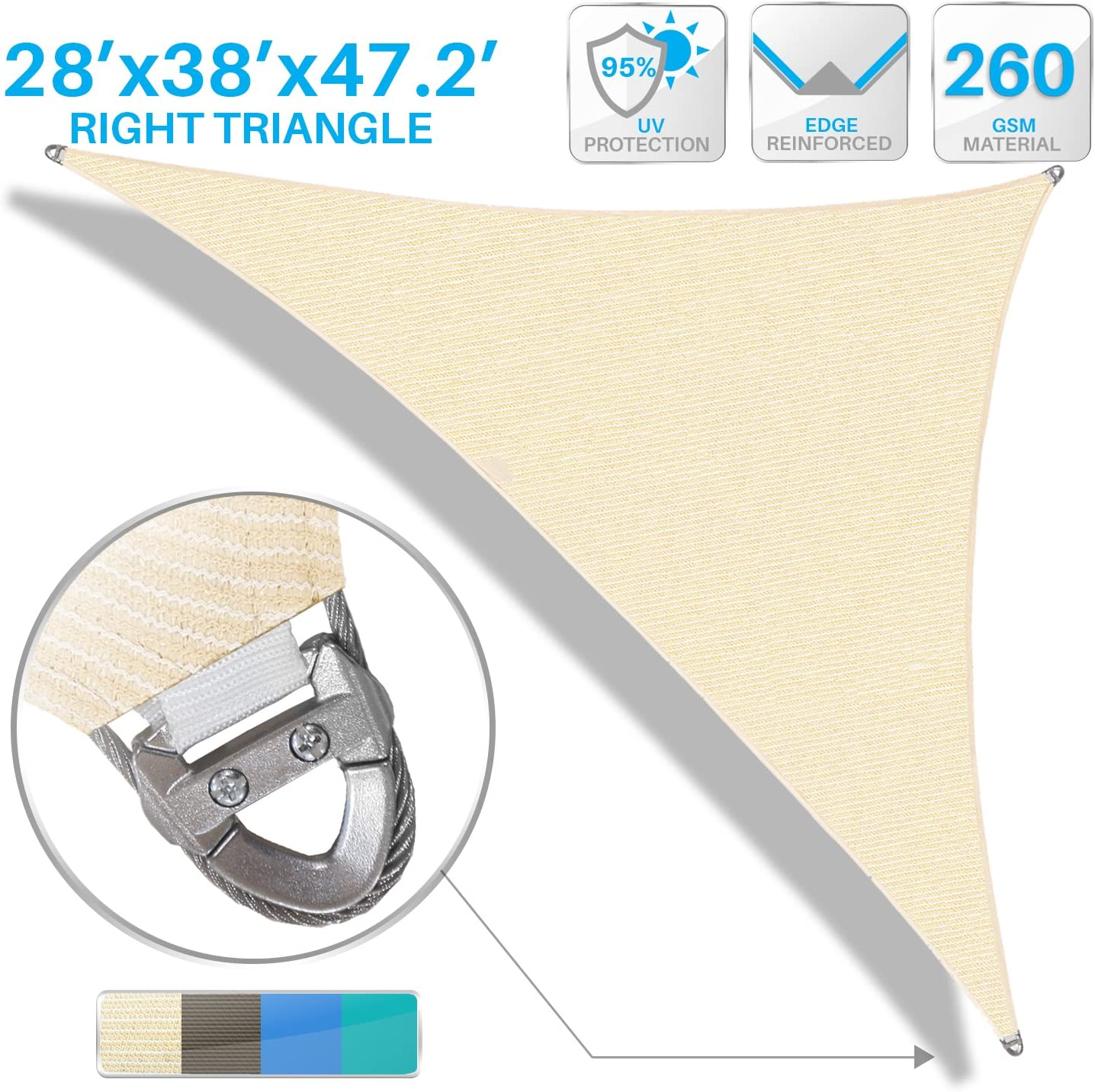 B079HJCH4R Patio Large Sun Shade Sail 28' x 38' x 47' Right Triangle Heavy Duty Strengthen Durable Outdoor Canopy UV Block Fabric A-Ring Design Metal Spring Reinforcement 7 Year Warranty -Beige 81ypBA-mvVL.SL1500_