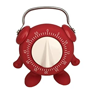 HERF Silicone Kitchen Teaching Egg Timer Cute Minion 60 Mins Countdown with Ring Alert (Red)