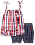 U.S. Polo Assn. Girls' Little Fashion Top and Short Set, Plaid Flyway Back Multi, 4