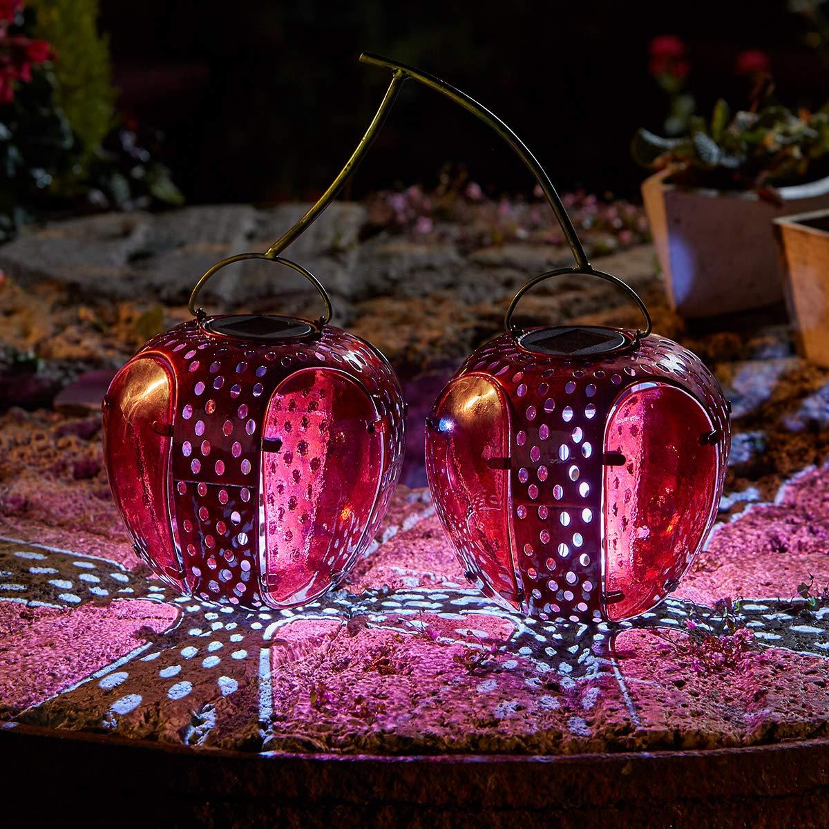 Solar-Gartenlaterne Funky Kirsche ca 29 cm hoch