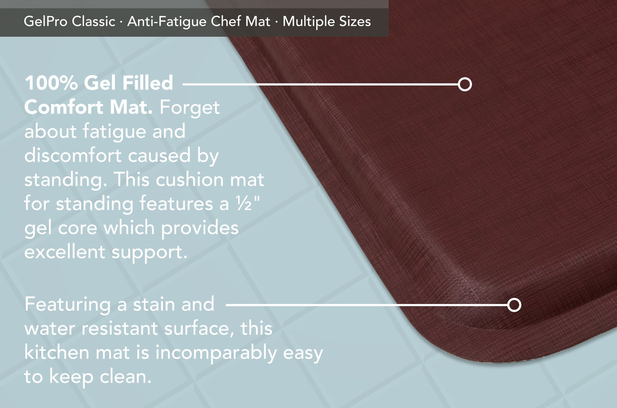 """GelPro Classic Anti-Fatigue Kitchen Comfort Chef Floor Mat, 20x72"""", Linen Cardinal Stain Resistant Surface with ½"""" gel core for health & wellness by GelPro (Image #4)"""