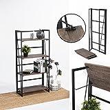 FurnitureR Sin Ensamblaje Estantes Plegables con 4 Repisas Estilo Industrial y Vendimia Elegante Librero Estantes de…