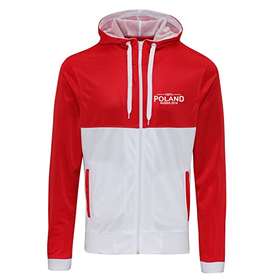 09fa36ea5 Novelty Hoodie s 100% Poland Football World Cup 2018 Zip Retro Hoodie Mens  Red White
