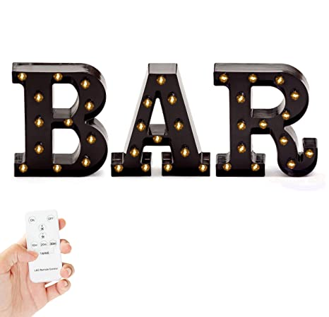 marquee bar sign lights light up black b a r letters home decor