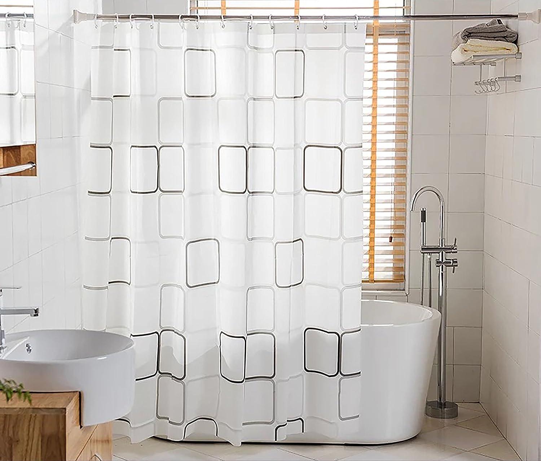 BSTT Tende da doccia antimuffa impermeabile Quadrati bianchi e neri Tenda decorativa doccia per vasca da bagno per casa e hotel QISHENG
