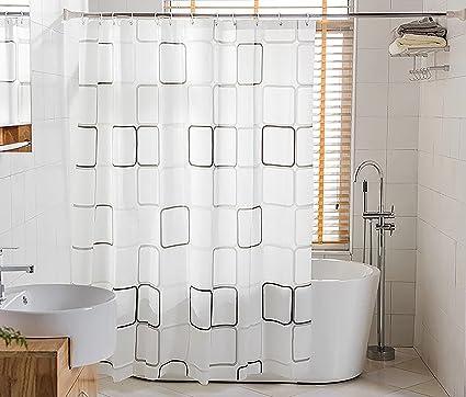 BSTT Tende da doccia antimuffa impermeabile Quadrati bianchi e neri ...
