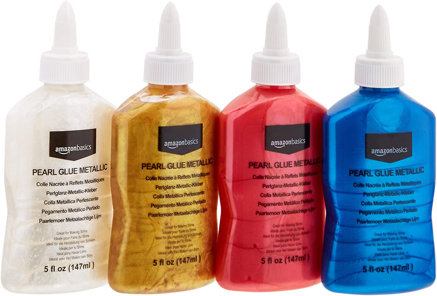 AmazonBasics Washable Pearlescent Metallic Glue, Assorted Colors, 5-oz each, 4-Pack