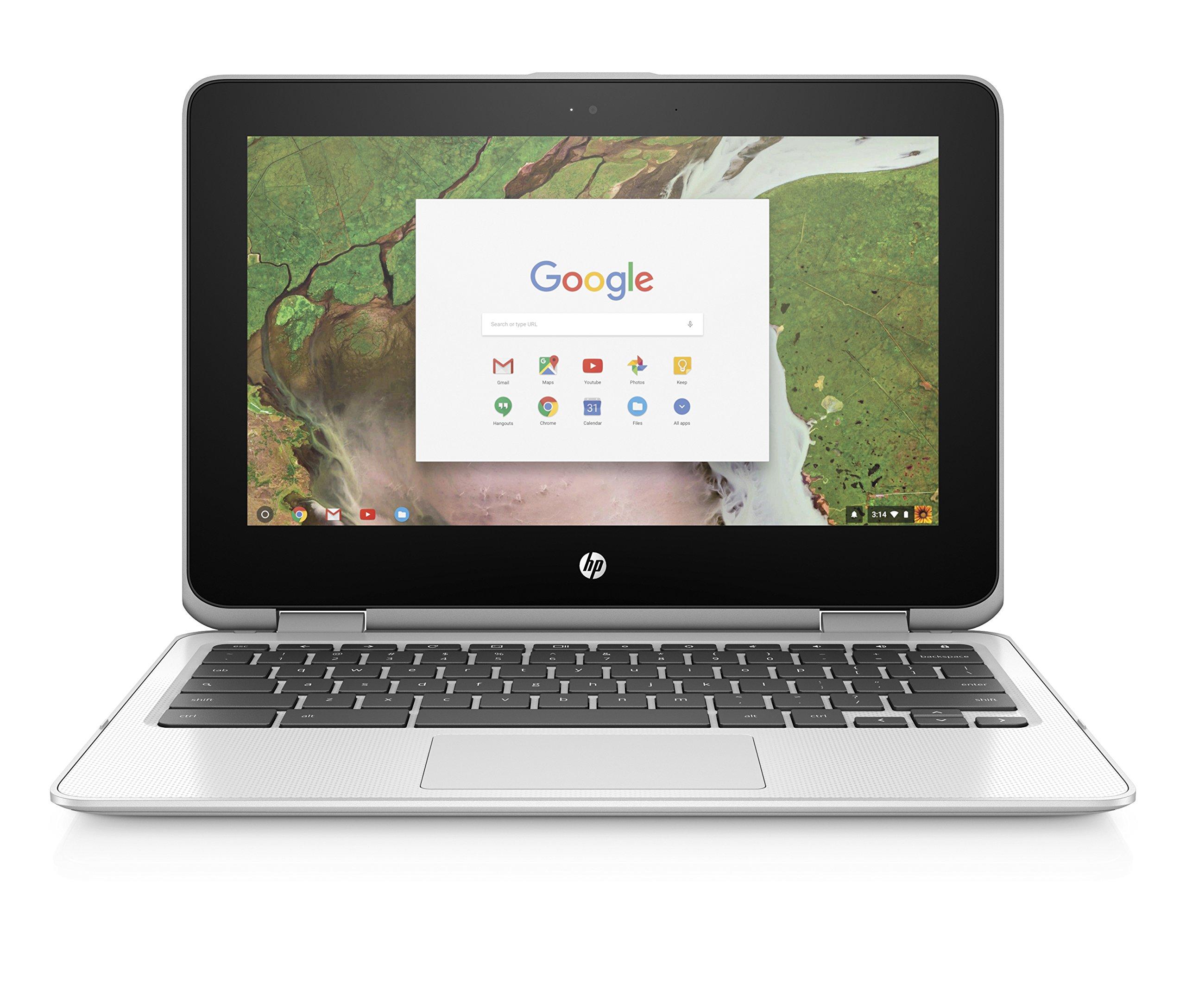 HP Chromebook x360 11-inch Convertible Laptop, Intel Celeron N3350, 4GB RAM, 32GB eMMC storage, Chrome OS (11-ae040nr, White) by HP (Image #1)