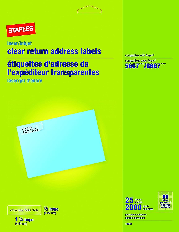 80%OFF Staples Clear Inkjet/Laser Return Address Labels, 1/2