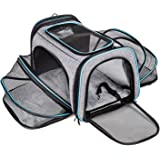 BERTASCHE Cat Carrier Large Pet Carrier, Expandable Soft Sided Dog Travel Carrier Bag with Removable Fleece Pad and Pockets