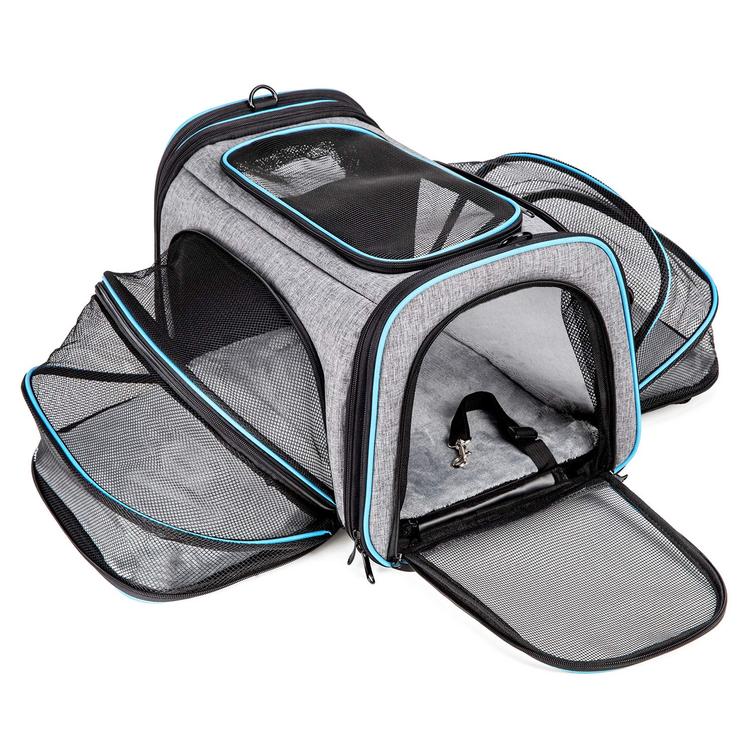 Cat Carrier Airline Approved Pet Carrier,Bertasche Expandable Soft Sided Dog Travel Carrier Bag with Removable Fleece Pad and Pockets by Bertasche
