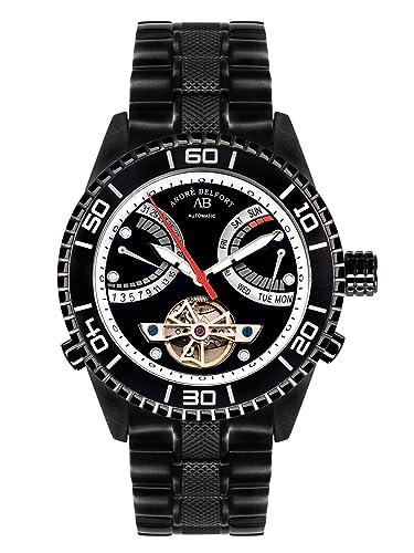 André Belfort 410162 - Reloj analógico de caballero automático con correa de acero inoxidable negra - sumergible a 50 metros: Amazon.es: Relojes