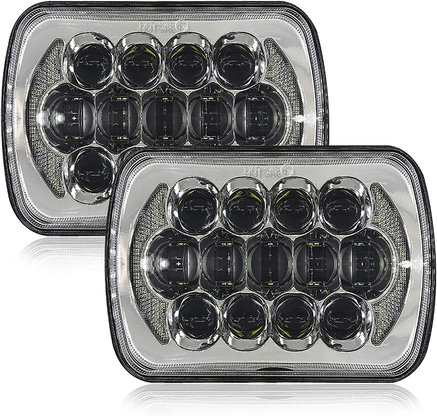 Galvor 7x6 5x7 Inch LED Headlight for Jeep YJ Cherokee XJ H6054 H5054 H6054LL 69822 6052 6053 with High Low Beam DRL Replacement headlight Silver(Pair)