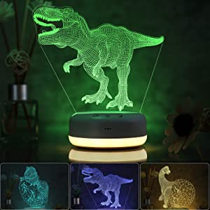3D Dinosaur Night Light for Kids, 3 Patterns and 16 Color Change Night Light, Kids' Room Decor Lamps, Dinosaur Toys and Gifts for Boys, Girls