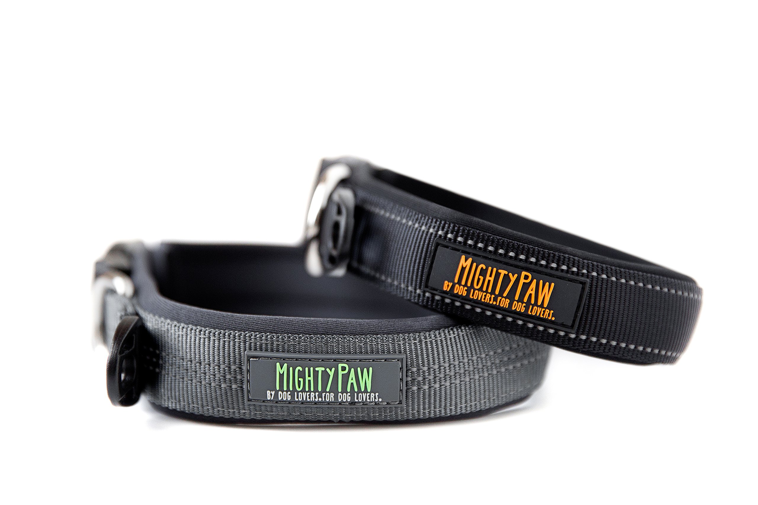 Mighty Paw Neoprene Padded Running Dog Collar, Premium Quality Sports Collar with Reflective Stitching, Extra Comfort for Active Dogs (Grey- Medium 15-18'')