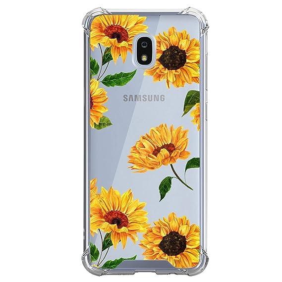 Clear MINITURTLE Case Compatible w/Galaxy J3 (2018), J3 Achieve, J3 Star,  J3 Orbit, Sol 3, Express Prime 3, Amp Prime 3 [Floral Print Series] Slim