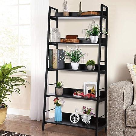 Estantería industrial de 5 niveles con escalera Estantería de madera y metal Organizador negro Estante de almacenamiento Escalera de almacenamiento ...