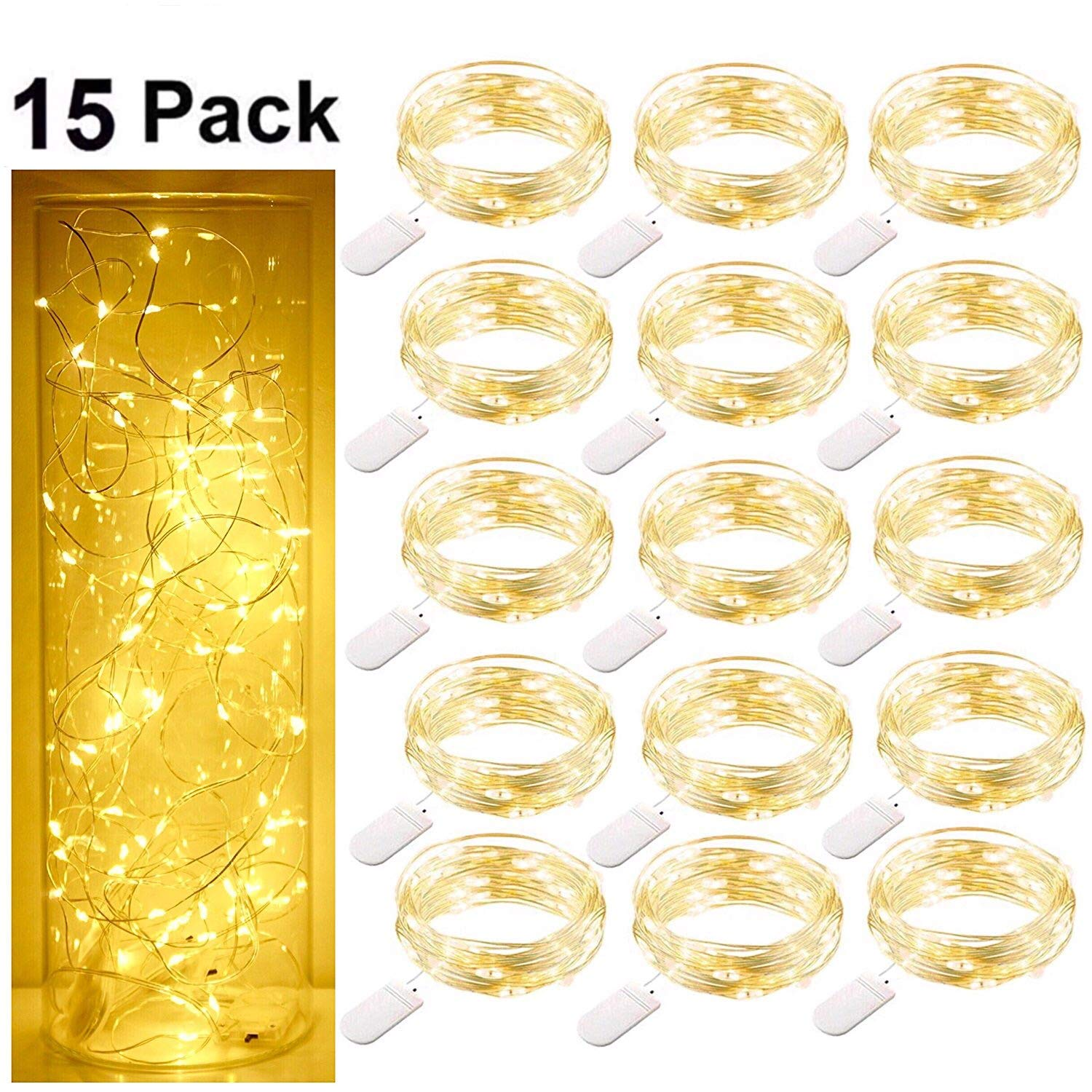 Starry String Fairy Lights, SmilingStore Firefly Lights with 20 Micro LED on 7.2feet/2m Silver Copper Wire Battery Powered for DIY Wedding Party Centerpiece Decorations Pack of 15 - Warm White